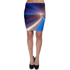 Glow Motion Lines Light Blue Gold Bodycon Skirt