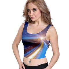 Glow Motion Lines Light Blue Gold Crop Top