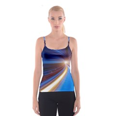Glow Motion Lines Light Blue Gold Spaghetti Strap Top