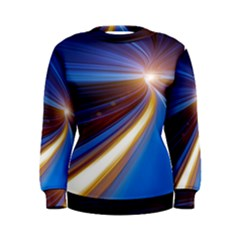 Glow Motion Lines Light Blue Gold Women s Sweatshirt
