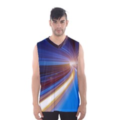 Glow Motion Lines Light Blue Gold Men s Basketball Tank Top