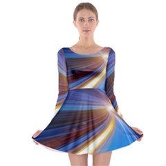 Glow Motion Lines Light Blue Gold Long Sleeve Skater Dress