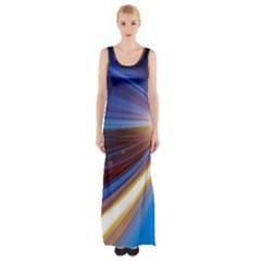 Glow Motion Lines Light Blue Gold Maxi Thigh Split Dress