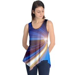 Glow Motion Lines Light Blue Gold Sleeveless Tunic