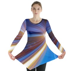 Glow Motion Lines Light Blue Gold Long Sleeve Tunic