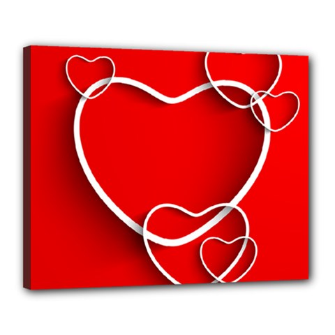 Heart Love Valentines Day Red Canvas 20  x 16