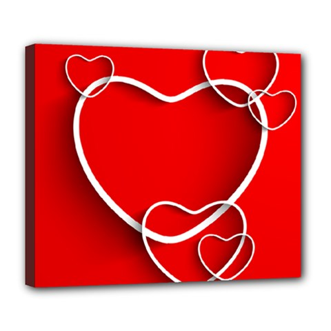 Heart Love Valentines Day Red Deluxe Canvas 24  x 20