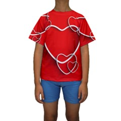 Heart Love Valentines Day Red Kids  Short Sleeve Swimwear