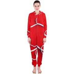 Heart Love Valentines Day Red Hooded Jumpsuit (Ladies)