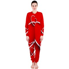 Heart Love Valentines Day Red OnePiece Jumpsuit (Ladies)