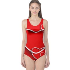 Heart Love Valentines Day Red One Piece Swimsuit