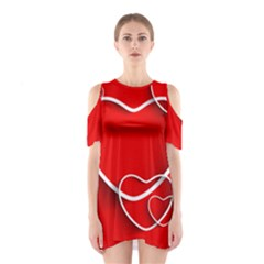 Heart Love Valentines Day Red Shoulder Cutout One Piece