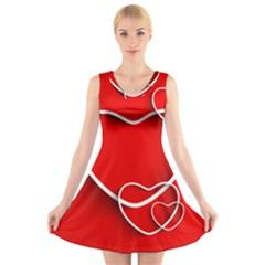 Heart Love Valentines Day Red V-Neck Sleeveless Skater Dress