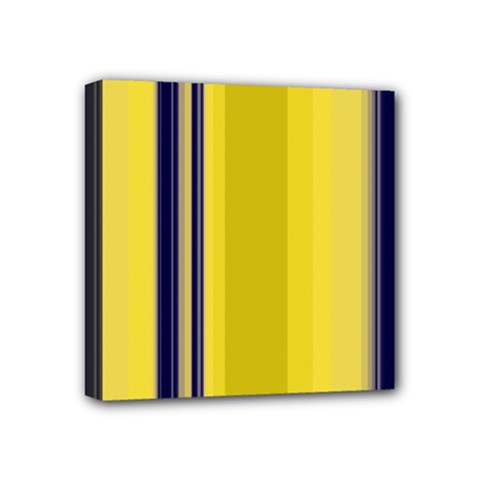 Yellow Blue Background Stripes Mini Canvas 4  x 4