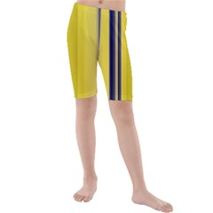 Yellow Blue Background Stripes Kids  Mid Length Swim Shorts
