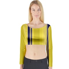 Yellow Blue Background Stripes Long Sleeve Crop Top