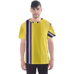 Yellow Blue Background Stripes Men s Sport Mesh Tee