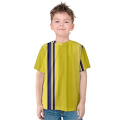 Yellow Blue Background Stripes Kids  Cotton Tee