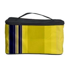 Yellow Blue Background Stripes Cosmetic Storage Case
