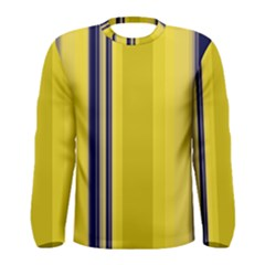 Yellow Blue Background Stripes Men s Long Sleeve Tee