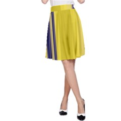 Yellow Blue Background Stripes A-Line Skirt