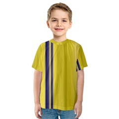 Yellow Blue Background Stripes Kids  Sport Mesh Tee
