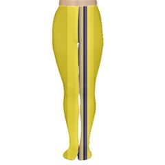 Yellow Blue Background Stripes Women s Tights