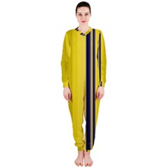Yellow Blue Background Stripes OnePiece Jumpsuit (Ladies)