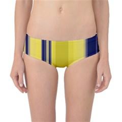 Yellow Blue Background Stripes Classic Bikini Bottoms