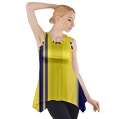 Yellow Blue Background Stripes Side Drop Tank Tunic