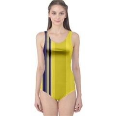 Yellow Blue Background Stripes One Piece Swimsuit