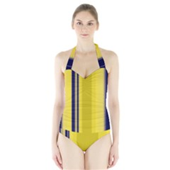 Yellow Blue Background Stripes Halter Swimsuit