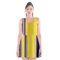 Yellow Blue Background Stripes Scoop Neck Skater Dress