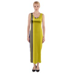 Yellow Blue Background Stripes Fitted Maxi Dress