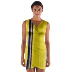 Yellow Blue Background Stripes Wrap Front Bodycon Dress