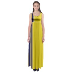 Yellow Blue Background Stripes Empire Waist Maxi Dress
