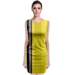 Yellow Blue Background Stripes Classic Sleeveless Midi Dress