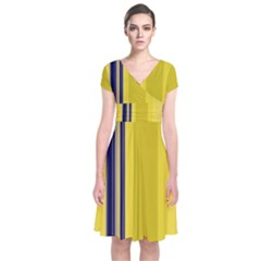 Yellow Blue Background Stripes Short Sleeve Front Wrap Dress