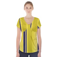 Yellow Blue Background Stripes Short Sleeve Front Detail Top