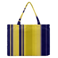 Yellow Blue Background Stripes Medium Zipper Tote Bag