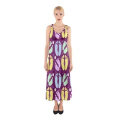 Baby Feet Patterned Backing Paper Pattern Sleeveless Maxi Dress