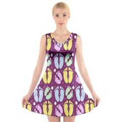 Baby Feet Patterned Backing Paper Pattern V Neck Sleeveless Skater Dress