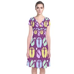 Baby Feet Patterned Backing Paper Pattern Short Sleeve Front Wrap Dress