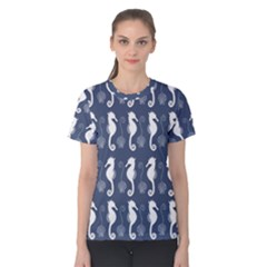 Seahorse And Shell Pattern Women s Cotton Tee