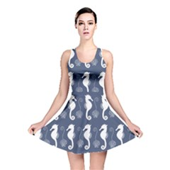 Seahorse And Shell Pattern Reversible Skater Dress