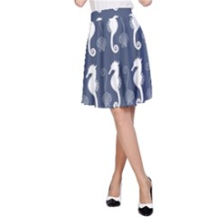 Seahorse And Shell Pattern A-Line Skirt