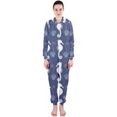 Seahorse And Shell Pattern Hooded Jumpsuit (Ladies)