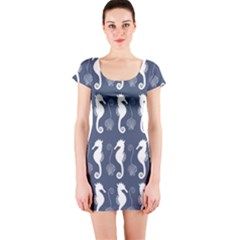 Seahorse And Shell Pattern Short Sleeve Bodycon Dress