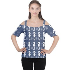 Seahorse And Shell Pattern Women s Cutout Shoulder Tee