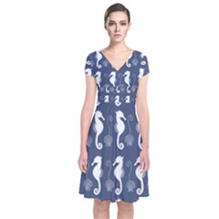 Seahorse And Shell Pattern Short Sleeve Front Wrap Dress